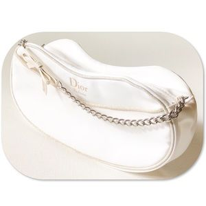 Dior Parfums White Makeup Bag with Chain